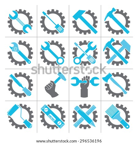 service icons set, setting icons, gear and tools - stock vector