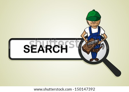 Service online search icon wood worker man cartoon. Vector file layered for easy personalization. - stock vector