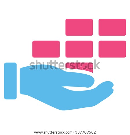 Service Schedule vector icon. Style is bicolor flat symbol, pink and blue colors, rounded angles, white background.