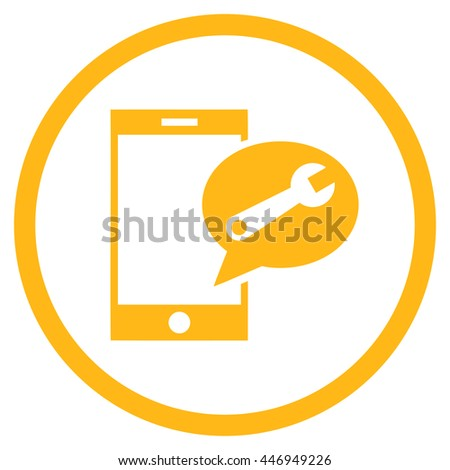 Service SMS vector icon. Image style is a flat icon symbol inside a circle, yellow color, white background. - stock vector