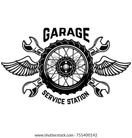 Service Station Emblem Template Car Wheel Stock Vector - Car sign with wings