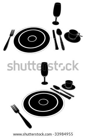 Service Table Set Vector 01 - stock vector