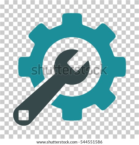 Service Tools icon. Vector pictogram style is a flat bicolor symbol, soft blue colors, chess transparent background. Designed for software and web interface toolbars and menus.