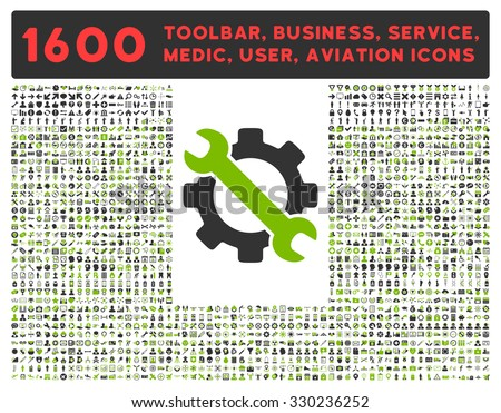 Service vector icon and 1600 other business, service tools, medical care, software toolbar, web interface pictograms. Style is bicolor flat symbols, eco green and gray colors, rounded angles, white - stock vector