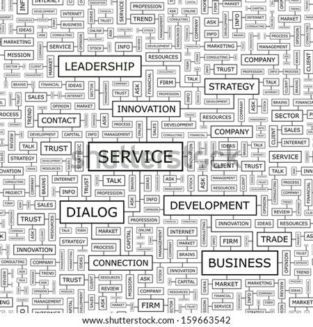 SERVICE. Word cloud concept illustration. Wordcloud collage. Vector illustration.  - stock vector