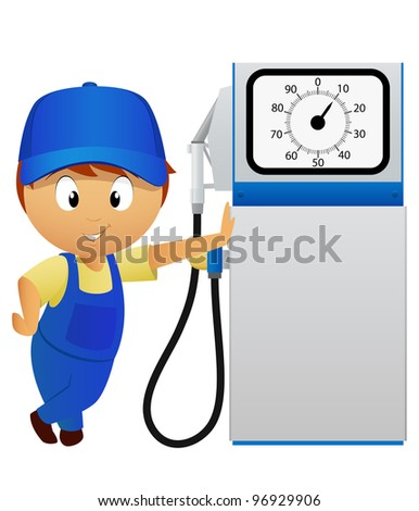 Serviceman with old fuel pump station isolated on white background. Vector illustration. - stock vector