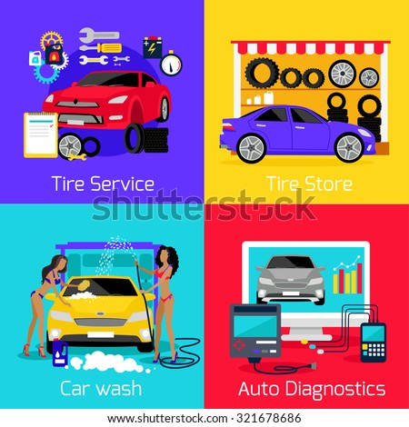 Services car washing diagnostics tire. Store and repair engine, carwash and autoservice, assistance and care machine, garage station, setting and calibration illustration - stock vector