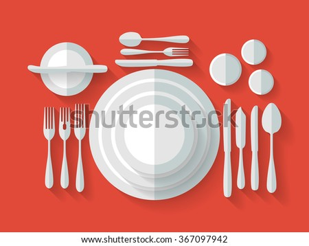 Serving cutlery with long shadows. Vector flat illustration.