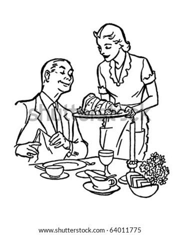 Serving Dinner - Retro Clipart Illustration - stock vector