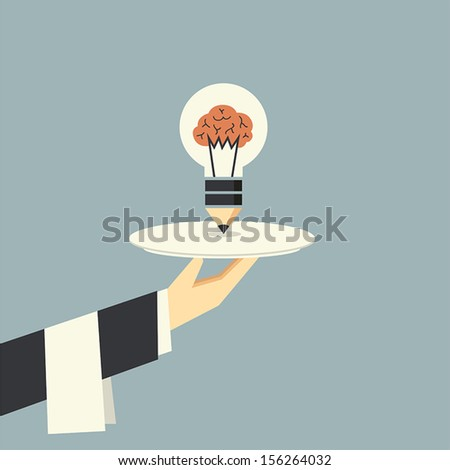 Serving light bulb with brain vector