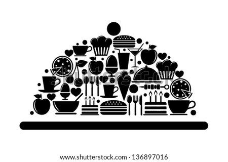 Serving tray with food icons - stock vector