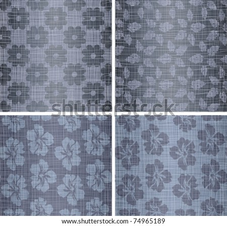Set a background from jeans dark blue fabrics with drawing - stock vector