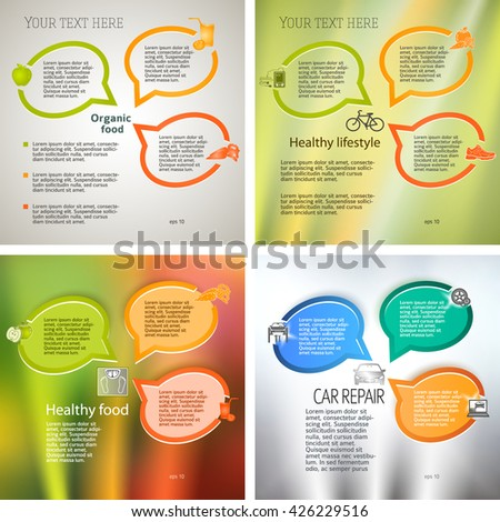 Set abstract background bubbles corporate concepts with template infographics. Vector illustration EPS 10 for business workflow layout, web banner template, page magazine, brochure design elements - stock vector