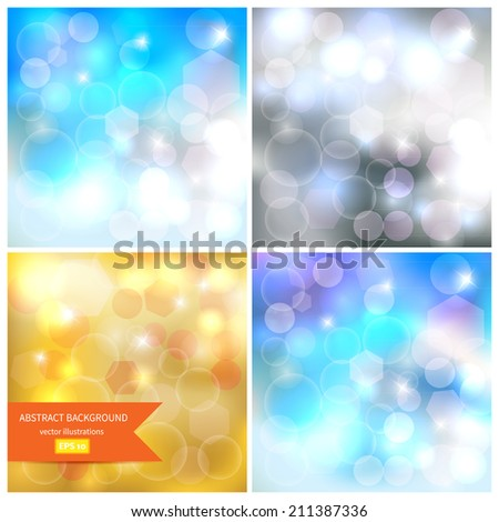 Set Abstract bokeh background. Festive background with Defocused Bokeh. Magic pattern glitter bokeh lights. Defocused lights background for your design. Vector illustration /EPS10 - stock vector