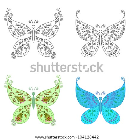 Set abstract butterflies: coloured with an abstract floral pattern and black contour on white background. Vector - stock vector