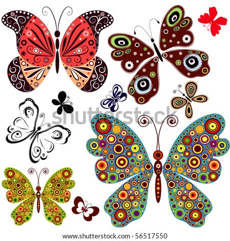 Set abstract butterflies for design on white (vector) - stock vector