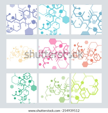 Set abstract vector modern pattern of hexagons circuits. - stock vector