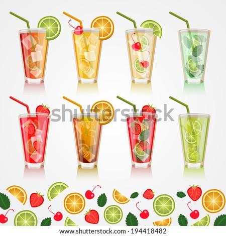Set alcoholic beverages. Vector - stock vector