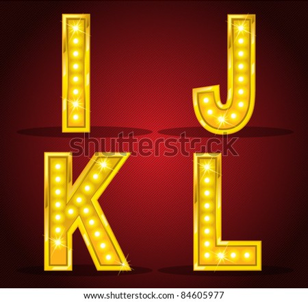 Set alphabet design with lamps - stock vector