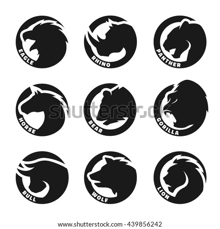 Set animal logos. Eagle, rhinoceros, panther, horse, bear, gorilla, bull, wolf, lion.