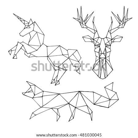 Set Animal Vector On A Black Background Fox Unicorn Deer Object Isolated Illustration