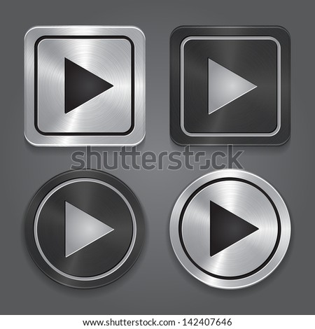 set app icons, realistic metallic Play button with highlights. Vector - stock vector