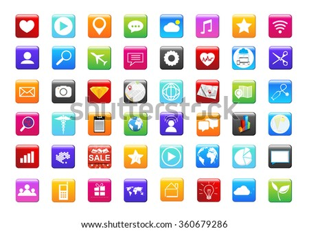 set apps icon vector design