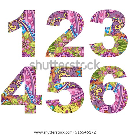 Set 6 arabic numerals, decorated with vintage pattern isolated on white, vector