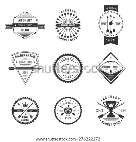 Set. Archery club label collection. Logo and design elements. Vector EPS 10 - stock vector
