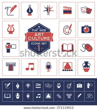 Set art culture and creativity icons. Trendy eco vector elements.  Modern flat design.  - stock vector