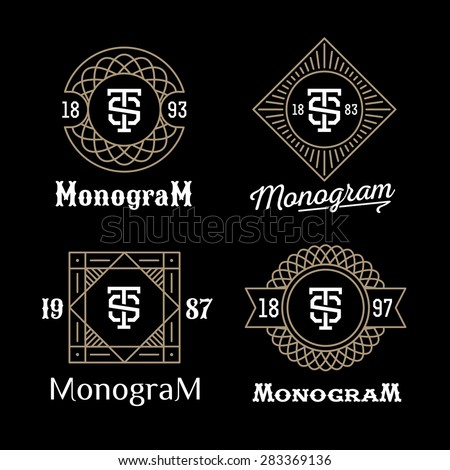 set art deco luxury classic linear monochrome golden minimal hipster geometric vintage vector monogram, frame , border , label  for your logo badge or crest - stock vector