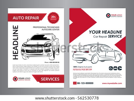 Set Auto Repair Business Layout Templates Stock Vector 562530778 ...