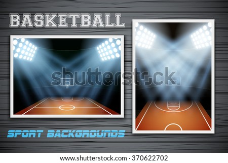 Set Backgrounds of night Basketball arena. Horizontal and vertical orientation. Editable Vector Illustration.