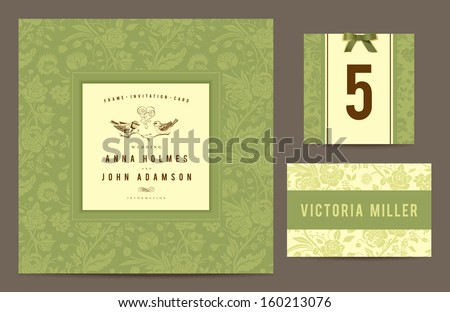 Set backgrounds to celebrate the wedding. Invitation card, table number, guest card. Vector illustration. Green background with silhouettes of bouquets of flowers and yellow vintage frame with birds. - stock vector