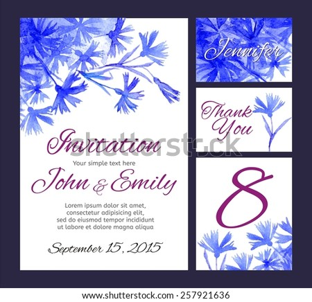 Set backgrounds to celebrate the wedding with watercolor cornflowers. Wedding invitation, table number, guest card, thank you card. Blue flowers - stock vector