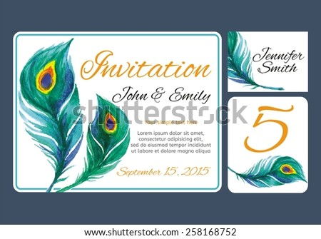 Set backgrounds to celebrate the wedding with watercolor peacock feather. Wedding invitation, table number, guest card. Vector illustration - stock vector