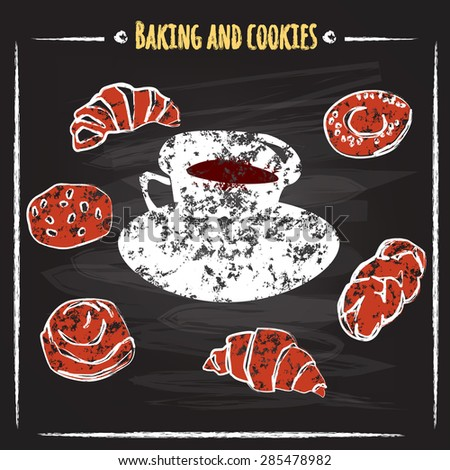 Set baking and cookies are for coffee, chalk on a blackboard, vector illustration - stock vector