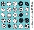 Set Ball sports icons symbols comic vector illustration - stock vector