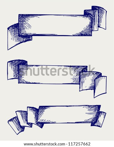 Set  banners and ribbons. Doodle style - stock vector