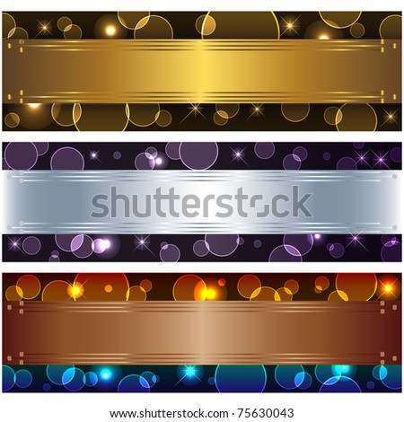 Set banners with boke and design elements. 10eps vector. - stock vector