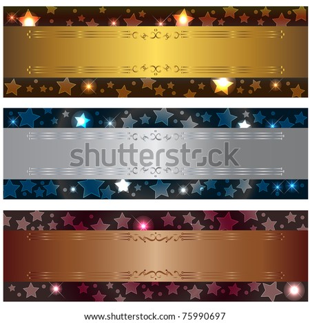 Set banners with bokeh stars and design elements. 10eps vector.