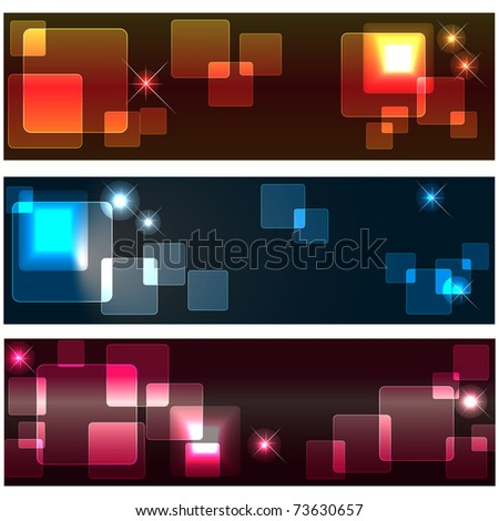 Set banners with transparent squares and stars. 10eps vector.