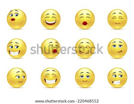 Set beautiful funny smiles - stock vector