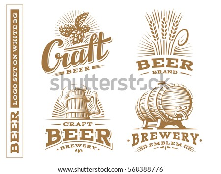 Set beer logo - vector illustration, emblem brewery, design on white background.