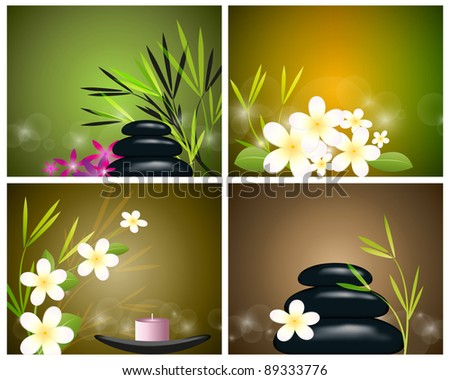Set behind the spa still life - stock vector
