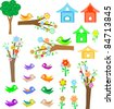 Set birds with birdhouses, green trees and flowers. vector - stock vector