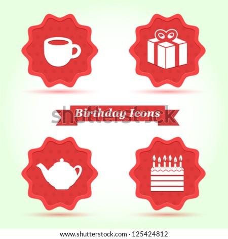 Set Birthday badges - stock vector
