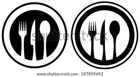 set black and white food icon with kitchen utensil silhouette