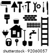 set black isolated tools silhouette for house repair and garden - stock vector
