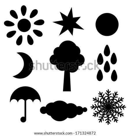 Set black silhouette sun, star, moon, half moon, tree, raindrops, umbrella ,cloud, snowflake isolated. Abstract design logo. Logotype art - vector - stock vector